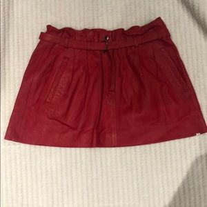 ONE TEASPOON red leather mini skirt size S
